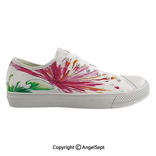 Durable Anti-Slip Sole Washable Canvas Shoes 14.96inch Opened Out Asiatic Oriental Lily Freesia Florets Home Art,Fuchsia Green Flexible and Soft Nice Gift