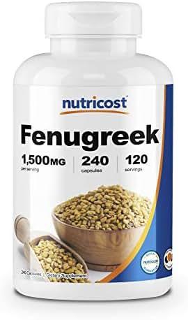 Nutricost Fenugreek Seed 1500mg, 240 Capsules - Gluten Free, Non-GMO, 750mg Per Capsule