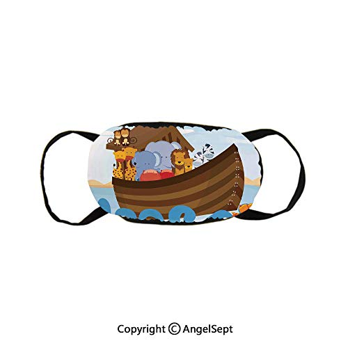 Different Wild Animals on Noahs Ark Boat Cheerful Story with Characters Fun,Supports Breathing Clean Air Cotton Mask,Multicolor,9x4.7inches,Anti-Dust,Smoke,Allergies,Gas,Germs and Flu (The Danger Of A Single Story Activity)