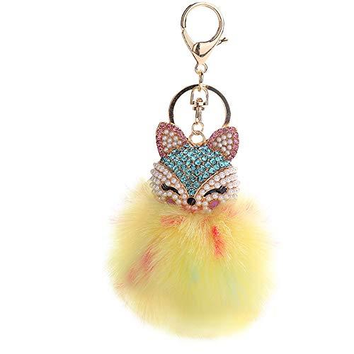(HXINFU Cute Stuffed Fox Keychain Pom Pom Fluffy Fox Head Key chain for Girls)