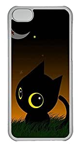 iPhone 5c Case - Unique Cool And The Moon Lawn Lovely Black Cat Hard Clear Mobile Phone Protecting Shell
