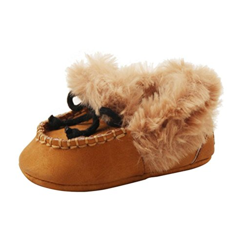 Voberry Infant Baby Girl Boy Soft Warming Shoes Toddler Fleece Furry Boots (0~6 Month, Brown) -