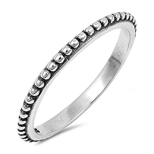 Bali Band Ring (Thin Beaded Bali Stackable Ring New .925 Sterling Silver Vintage Band Size 7)
