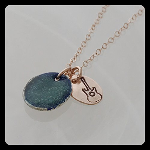 Guitar Necklace on 14kt rose gold fill with enameled fine silver ()