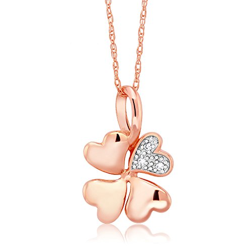 10K Solid Rose Gold 0.013 Ctw White Diamond 0.5 Inch Clover Pendant With 18 Inch Chain