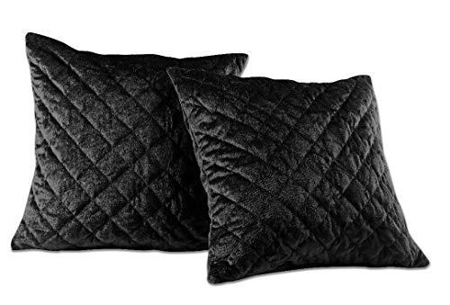 - Chezmoi Collection Nina Premium Heavy Velvet Modern Diamond Pattern Decorative Square Throw Pillow Cushion Cover (Black, 18