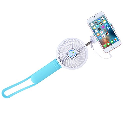Portable Fan,Findway Mini USB Fan with Selfie Stick and Power Bank for Room Office Outdoor Travel (Blue) by findway