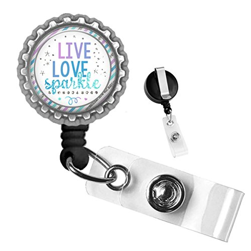 Live Love Sparkle Silver Retractable Badge Reel ID Tag Holder by Geek Badges -