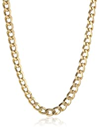 Klassics Men's 10k Yellow Gold 5.5mm Semi Hollow Diamond-Cut Curb Chain, 22""