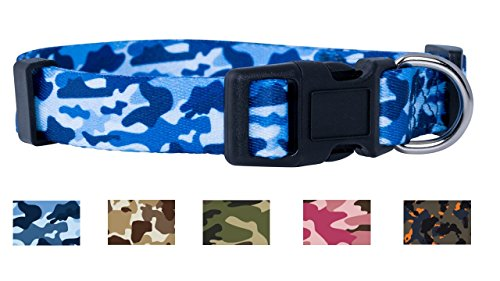 Native Pup Camo Dog Collar (Large, Blue)