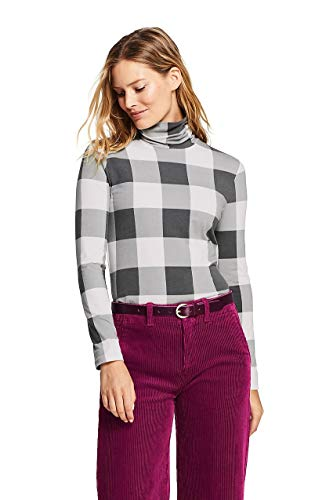 (Lands' End Women's Lightweight Fitted Turtleneck Layering, S, Ivory/Charcoal Check)