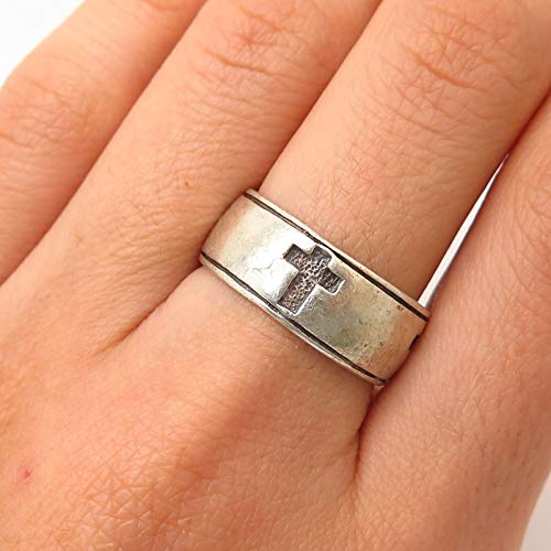 925 Sterling Silver Peter Stone Cross Design Band Ring Size 7 3/4 Jewelry by Wholesale Charms ()