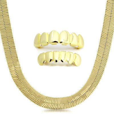 """Mens 14k Gold Plated 9mm Flat 24"""" Herringbone Necklace Chain and Set of Top & Bottom Grillz"""