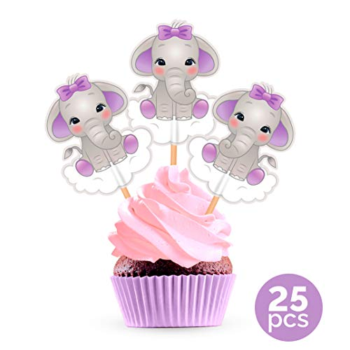 Purple Elephant Cupcake Cake Toppers - Lavender Lilac Baby Shower Birthday Party Decorations Supplies - 25 Pieces -