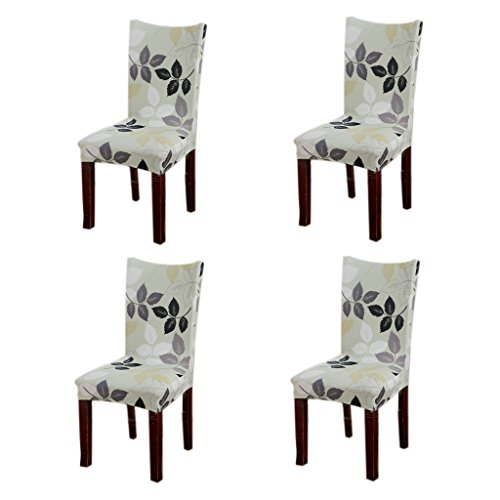 Jiuhong Stretch Removable Washable Short Dining Chair Protector Cover Slipcover, Style 07, 4 Pack