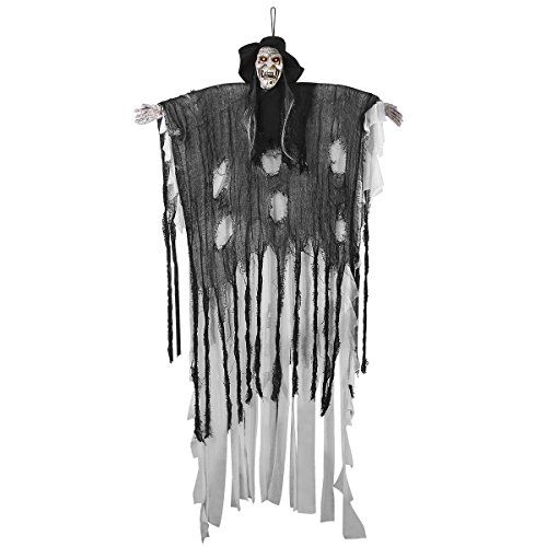 6-Ft Animated Halloween Props, YUNLIGHTS Voice-Activated Animated Skeleton Ghost with Glowing Red Eyes and Great Sound Effect- 34.6 Inch arm wide Animated Halloween Props (Making Halloween Decorations)