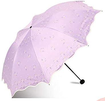 YYP Umbrella Chinese 3 Folding Sun Umbrella Rain Women Anti Uv Outdoor Traveling Girl Umbrellas Parasol Flower Light Portable Purple,Azul