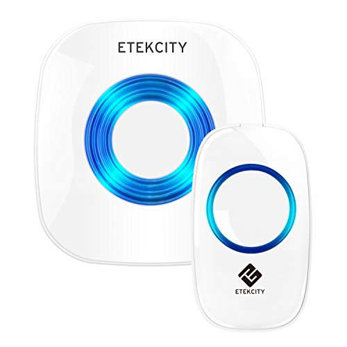 Etekcity Wireless Doorbell Operating at 1000-feet with Plug-in Receiver Battery-powered Receiver and Push Button 52 Chimes White (1-1)  sc 1 st  Amazon.com & Wireless Door Buzzer: Amazon.com