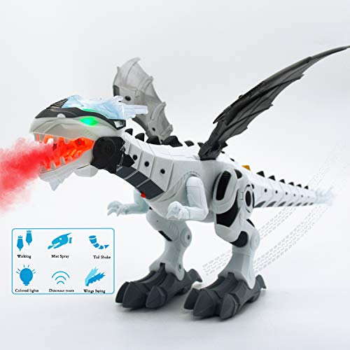 Blooming lilies Electronic Walking Dinosaur Robot Toys with Mist Spray Lights Eyes Roaring Sounds and Swinging Tail Action for Kids