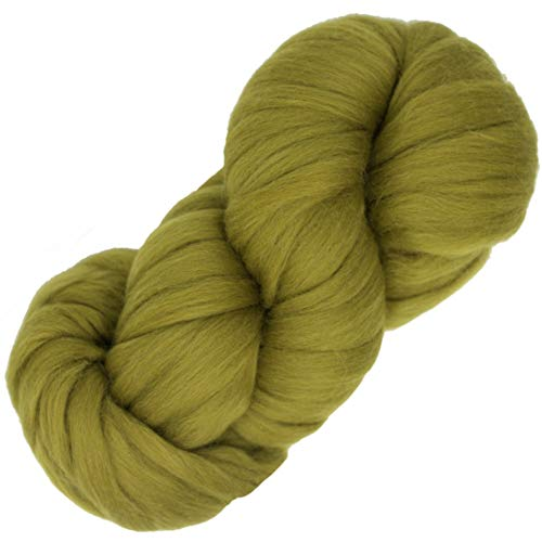 Living Dreams Air Merino Super Bulky Chunky Wool Yarn. Thick Pencil Roving Yarn for Needle Knitting and Crochet. Made in USA, Moss
