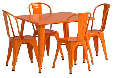 Flash Furniture 31.5'' Square Orange Metal Indoor-Outdoor Table Set with 4 Stack Chairs by Flash Furniture (Image #4)