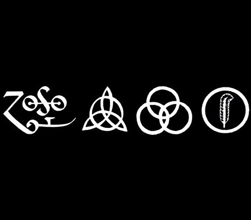 - All 4 Led Zeppelin Runes Decal vinyl window sticker car truck rock music, Die cut vinyl decal for windows, cars, trucks, tool boxes, laptops, MacBook - virtually any hard, smooth surface