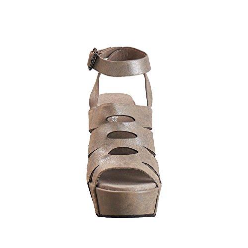 Antilope Donna 949 In Pelle Metallizzata Tagli Alti Con Sandalo In Peltro