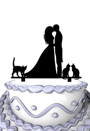 (Meijiafei Kissing Couple with 3 Loved Cats Silhouette Family Cake Topper )
