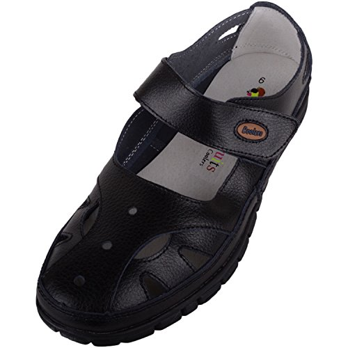 Sandals Fitting Leather Summer Holiday Footwear Shoes EEE Absolute Causual Wide Womens Black 8xUwvqH
