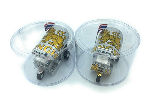 WD- 2 pcs Thai TUKTUK handmade Thai TUK TUK taxi made of SINGHA beer can aluminium model Collection show in room home office decor or great gift all session w/ plastic clear container box.