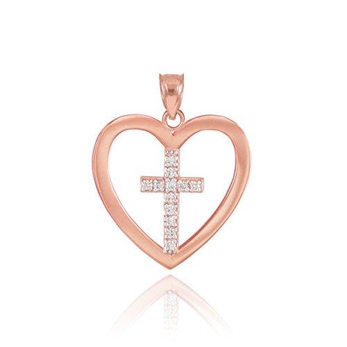 10k Rose Gold Diamond Cross in Open Heart Charm Pendant by Heart Pendants