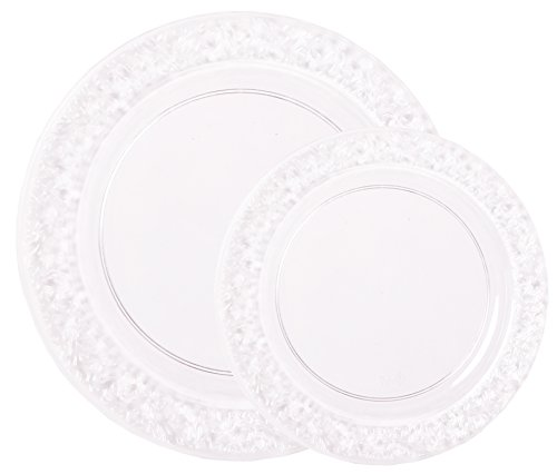 Party Joy 200 Piece Plastic Dinnerware Set Lace Collection 100 Dinner Plates Amp 100 Salad Plates Heavy Duty Premium Plastic Plates For Wedding Parties Camping Amp More Clear Buy Online