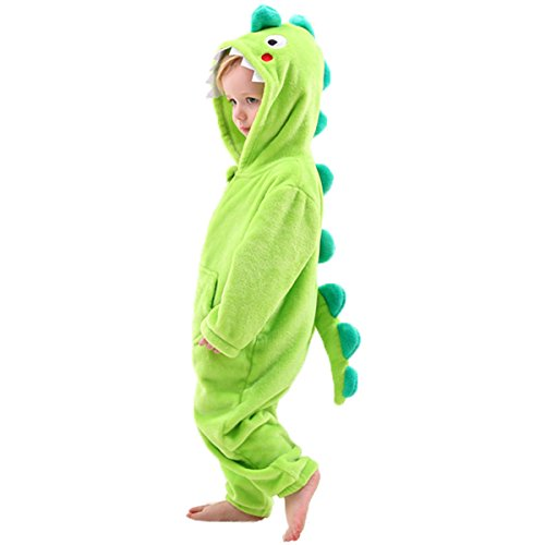 DREAMOWL Toddler Boys Dinosaur Costume Outfit-Childrens Fleece Pajamas (2T-4T, Green)]()