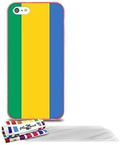 """Carcasa Flexible Ultra-Slim APPLE IPHONE 5S / IPHONE SE de exclusivo motivo [Gabon Bandera] [Rosa] de MUZZANO  + 3 Pelliculas de Pantalla """"UltraClear"""" + ESTILETE y PAÑO MUZZANO REGALADOS - La Protección Antigolpes ULTIMA, ELEGANTE Y DURADERA para su APPLE IPHONE 5S / IPHONE SE"""