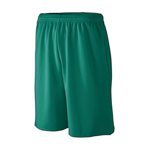 Augusta Athletic Longer Length Wicking Mesh Athletic Short - Youth, Dark Green, Medium by Augusta Athletic