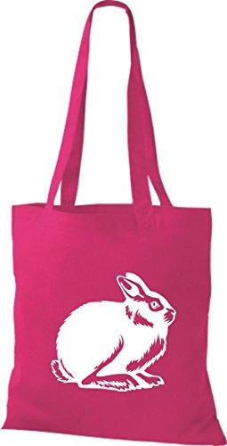 Shirtstown Stoffbeutel Tiere Hase, Rammler, Häschen Fuchsia