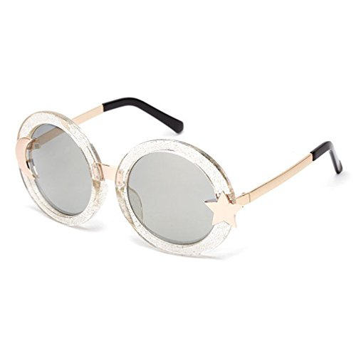 LOMOL Girls Fashion Retro Personality Cute Round Start and Moon Frame Sunglasses(C2) (Sonnenbrille Serengeti Aviator)