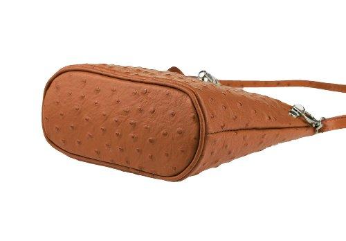 OBC Made in Italy echt Leder Borsetta Strauß Vera Pelle Schmucktasche Umhängetasche Tasche City Bag Schultertasche 19x21x9 cm (BxHxT) (Grau) Cognac t2wgKFL