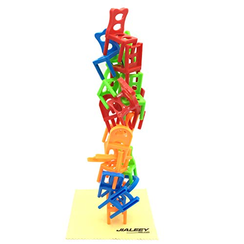 JIALEEY Balancing Toys Plastic Chairs Stacking Intelligence Multiplayer Balance Game Children Desk Play Game Toys for Kids Children Boy Girl Adults, - Game Chair Stacking