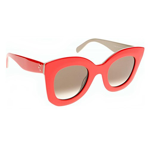 Celine 41093 AHY Red Ivory Beige Marta Cats Eyes Sunglasses Lens Category - Celine Sunglasses Butterfly