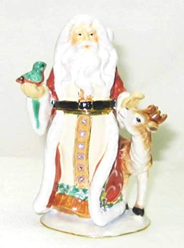 - Kubla Santa Claus w Woodland Animals Jeweled Hinged Enamel Trinket Box Collectible
