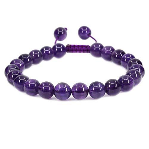 Natural A Grade Amethyst Gemstone 8mm Round Beads Adjustable Braided Macrame Tassels Chakra Reiki Bracelets 7-9 inch Unisex