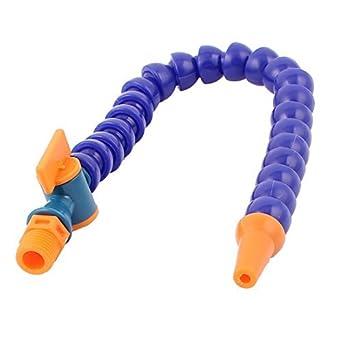 eDealMax Agua Aceite de plástico Flexible manguera del líquido refrigerante Azul Naranja w Interruptor