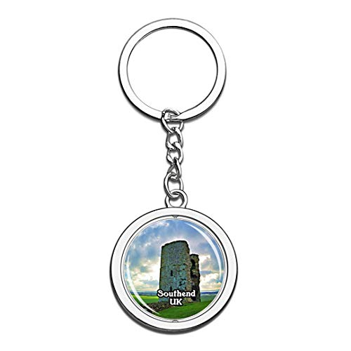 - Southend Hadleigh Castle UK England Keychain 3D Crystal Creative Spinning Round Stainless Steel Keychain Travel City Souvenir Collection Key Chain