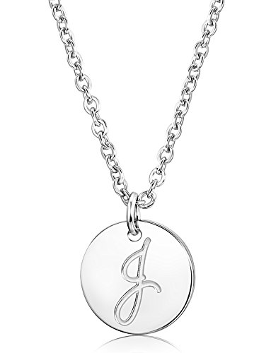 FUNRUN JEWELRY Stainless Steel Initial Letters Pendant Necklace for Women Men Letter J