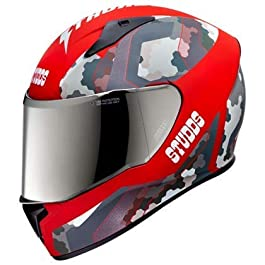 Studds Helmet Thunder D5 with Mirror Visor (Matt Red N2, XL)