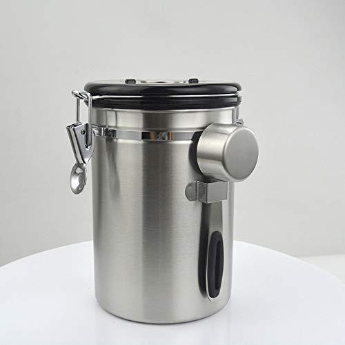 Nrpfell Recipiente Herm/éTico para Caf/é,Acero Inoxidable para la Cocina,B/óVeda de Caf/é Molido con V/áLvula Unidireccional y Cuchara,T/é Acero Inoxidable Cuchara de Caf/é Extra Az/úCar Caf/é