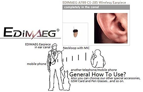 EDIMAEG Covert Wireless spy Earpiece with Loopset Neckloop 75 cm External  MIC GSM Earphone Earbud (Full Sets with Skin earpiece)