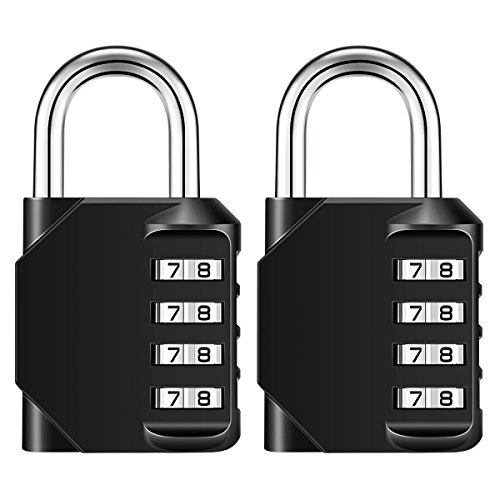 KeeKit Combination Lock, 4 Digit Combination Padlock, Weatherproof Outdoor Gate Lock, Locker Lock for School, Gym, Employee, Combination Lock for Case, Toolbox, Hasp Cabinet and Storage, 2 Pack by KeeKit