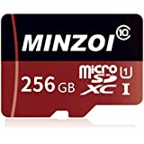 MINZOI 256GB Micro SD SDXC Memory Card High Speed Class 10 with Micro SD Adapter, Designed for Android Smartphones, Tablets and Other